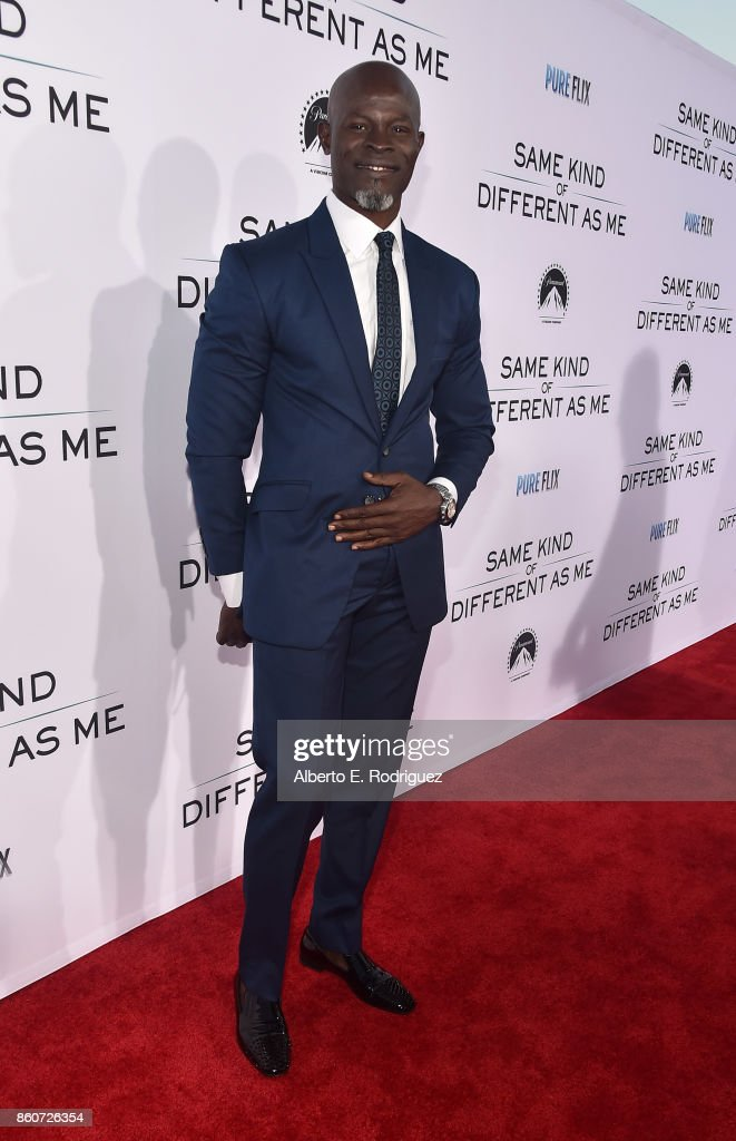 Actor Djimon Hounsou attends the premiere of Paramount Pictures and Pure Film Entertainment's 'Same Kind Of Different As Me' at Westwood Village Theatre on October 12, 2017 in Westwood, California.