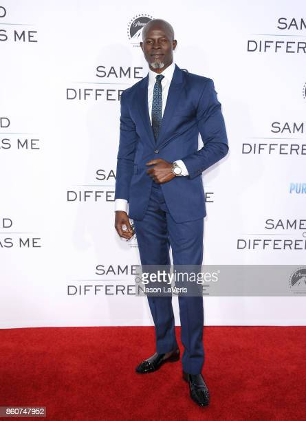 """Actor Djimon Hounsou attends the premiere of """"Same Kind of Different as Me"""" at Westwood Village Theatre on October 12, 2017 in Westwood, California."""