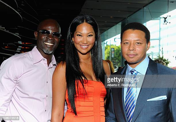 Actor Djimon Hounsou designer Kimora Lee and actor Terrence Howard attend the 2011 Independent Spirit Awards Filmmaker Grant and Nominee Brunch on...