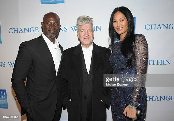 Actor Djimon Hounsou director/musician David Lynch and Kimora Lee Simmons attend the 3rd Annual 'Change Begins Within' Benefit Celebration presented...