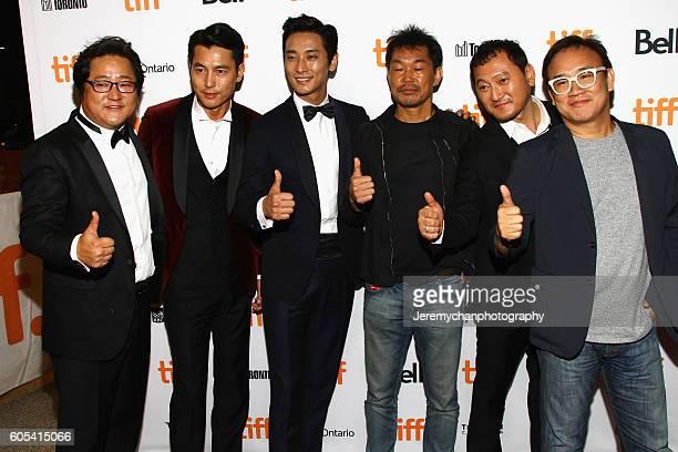 Actor Do Won Kwak actor Woosung Jung actor Ju Jihoon producer Jaeduk Han actor Jung Mansik and director Kim Sungsu attend the Asura The City Of...