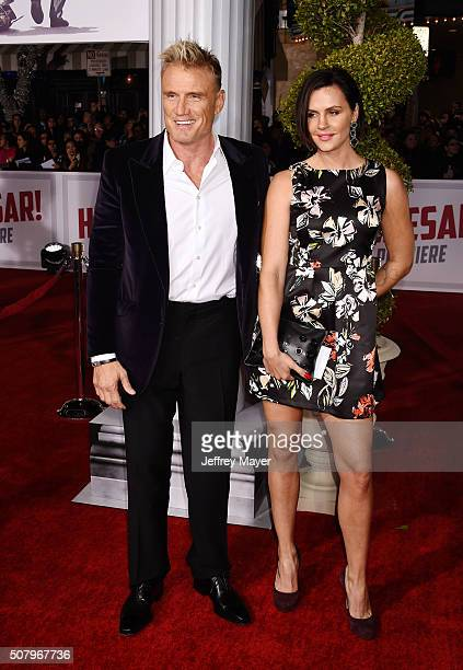 Actor Dolph Lundgren and actress Jenny Sandersson arrive at the Premiere Of Universal Pictures' 'Hail Caesar' at Regency Village Theatre on February...