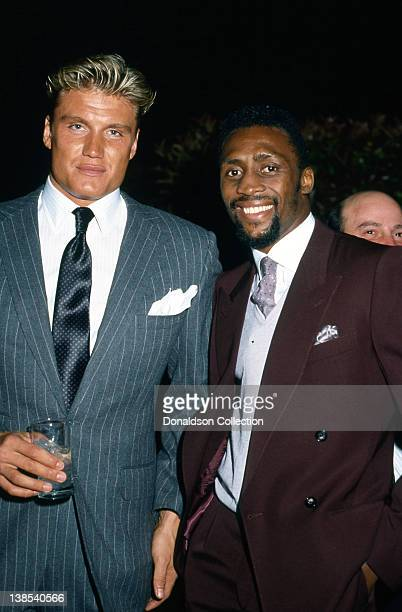 Actor Dolph Lundgren and boxer Thomas Hearns attend an event in 1986 in Los Angeles California