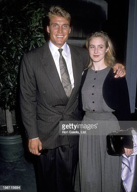 Actor Dolph Lundgren and date attend the Wedding of Ana Luisa Herrera and Felipe Paroud Carpena on October 13 1989 at St Vincent Ferrer Church in New...