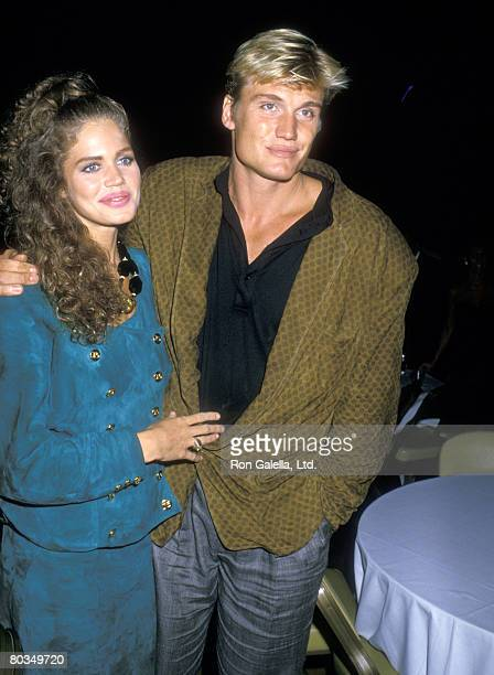 Actor Dolph Lundgren and girlfriend Model Paula Barbieri attend the Mike Tyson vs Michael Spinks Fight on June 27 1988 at Trump Plaza Hotel and...