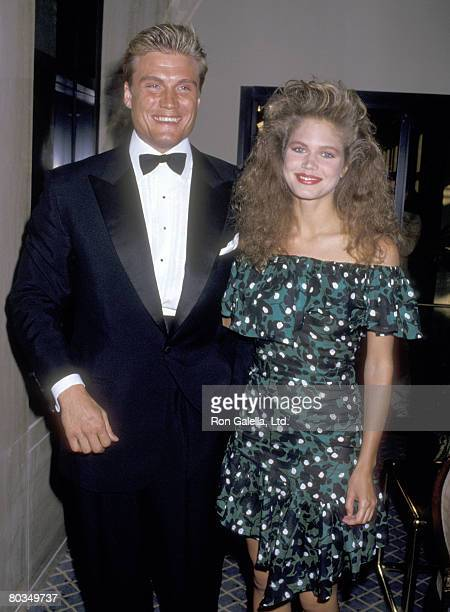 Actor Dolph Lundgren and girlfriend Model Paula Barbieri attend The Variety Club's Big Heart Awards on May 31 1987 at Registry Hotel in Los Angeles...