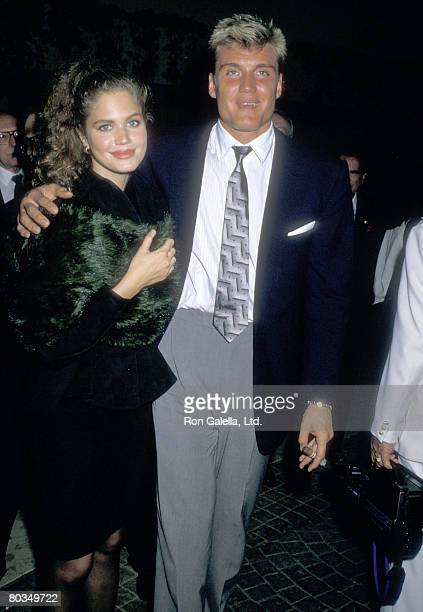 Actor Dolph Lundgren and girlfriend Paula Barbieri attend The American Soviet Film Initiative Tribute on April 8 1988 at Bel Age Hotel in West...