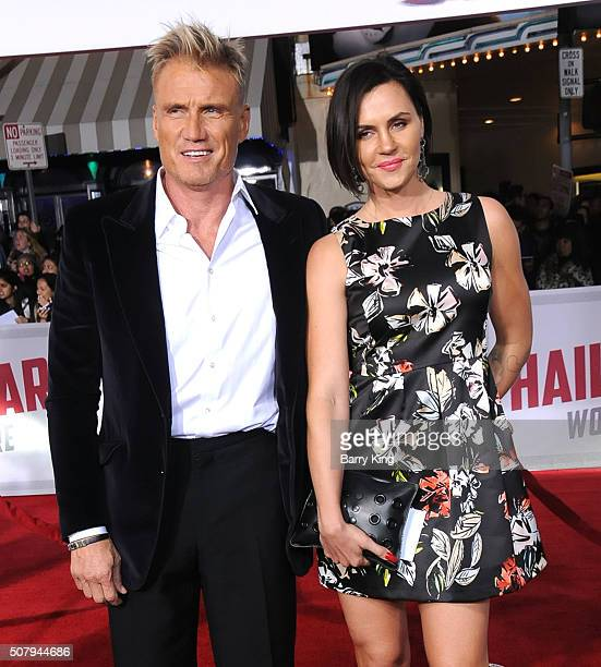 Actor Dolph Lundgren and Jenny Andersson attend the Premiere of Universal Pictures' 'Hail Caesar' at the Regency Village Theatre on February 1 2015...