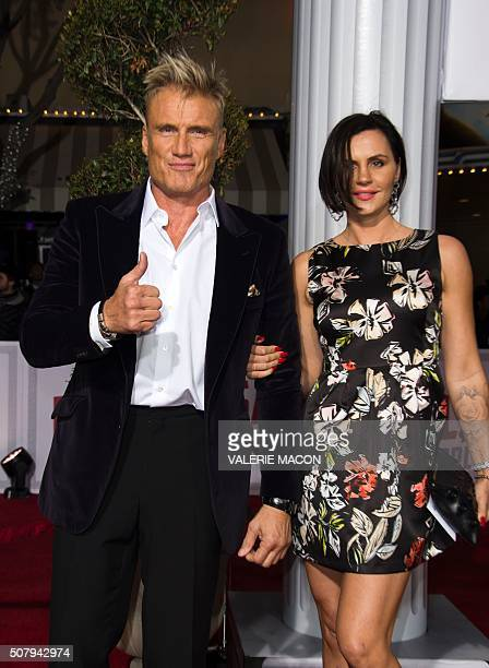 Actor Dolph Lundgren and Jenny Sandersson arrive at The Universal Premiere of Hail Caesar at the Regency Village Theatre in Westwood California...
