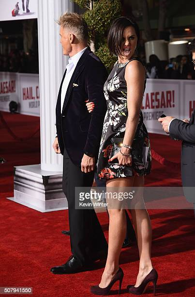 Actor Dolph Lundgren and Jenny Sandersson attend Universal Pictures' Hail Caesar premiere at Regency Village Theatre on February 1 2016 in Westwood...