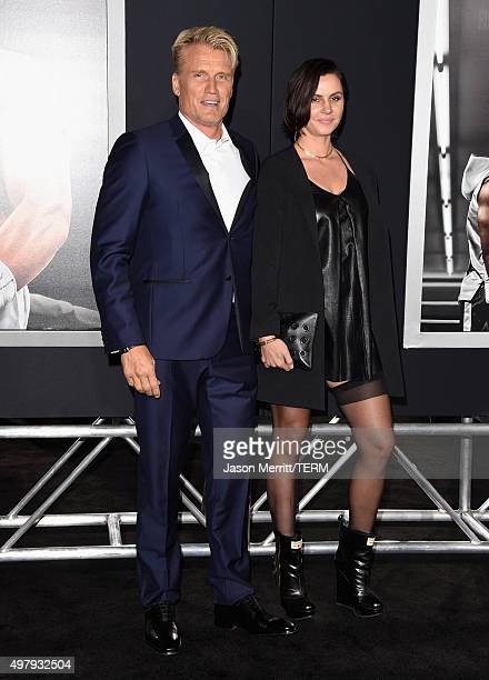 Actor Dolph Lundgren and Jenny Sandersson attend Warner Bros Pictures' Creed Premiere at Regency Village Theatre on November 19 2015 in Westwood...