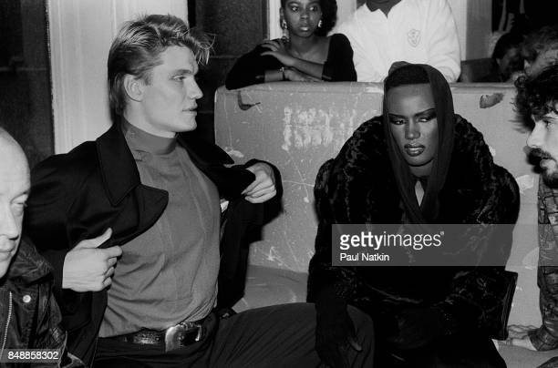 Actor Dolph Lundgren and singer and actress Grace Jones at the Limelight in Chicago Illinois November 25 1985