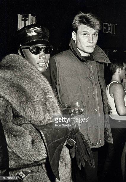 Actor Dolph Lundgren and singer Grace Jones attending Grace Jones Concert Party on January 1 1984 at the Kamikaze Club in New York City New York