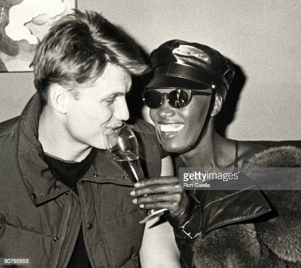 grace jones and dolph lundgren stock photos and pictures