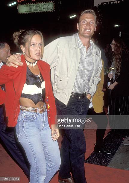 Actor Dolph Lundgren and wife Anette Qviberg attend the 'Dragon The Bruce Lee Story' Hollywood Premiere on April 28 1993 at Mann's Chinese Theatre in...