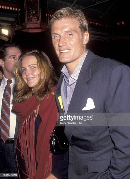 Actor Dolph Lundgren and wife Anette Qviberg attend the Nowhere to Run Hollywood Premiere on January 12 1993 at Mann's Chinese Theatre in Hollywood...