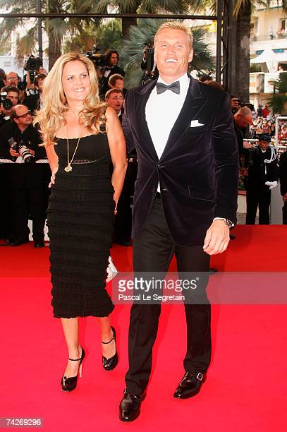 Actor Dolph Lundgren and wife Anette Qviberg attend the premiere for the film 'Ocean's Thirteen' at the Palais des Festivals during the 60th...