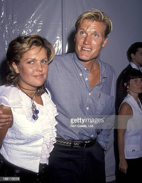Actor Dolph Lundgren and wife Anette Qviberg attend the 'Rising Sun' Beverly Hills Premiere on July 28 1993 at Academy Theatre in Beverly Hills...