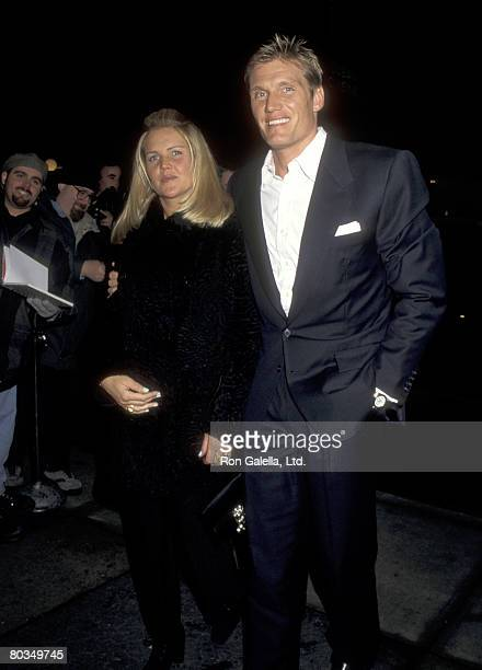 Actor Dolph Lundgren and wife Anette Qviberg attends the Dolls Have a Heart Gala to Benefit amfAR on February 14 1996 at Roseland in New York City...