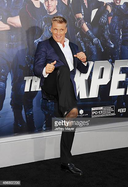 Actor Dolph Lundgren arrives at the Los Angeles premiere of 'The Expendables 3' at TCL Chinese Theatre on August 11 2014 in Hollywood California