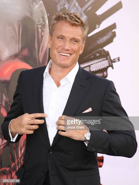 Actor Dolph Lundgren arrives at the premiere of 'The Expendables' at Grauman's Chinese Theatre on August 3 2010 in Hollywood California