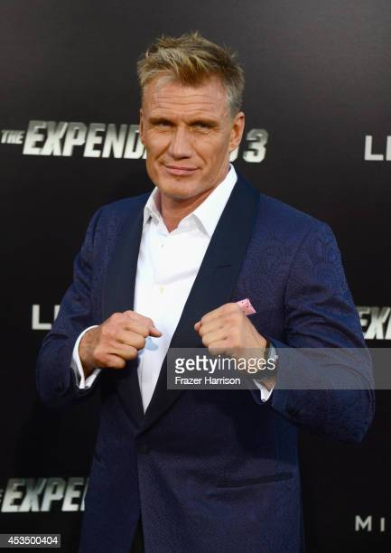 Actor Dolph Lundgren attends Lionsgate Films' The Expendables 3 premiere at TCL Chinese Theatre on August 11 2014 in Hollywood California