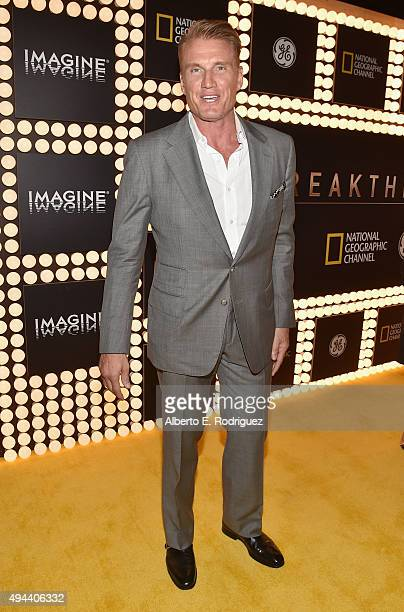 Actor Dolph Lundgren attends National Geographic Channel's Breakthrough world premiere event at The Pacific Design Center on October 26 2015 in West...