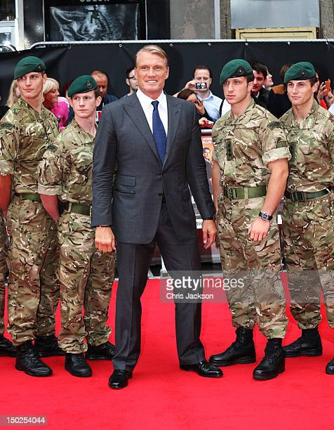 """Actor Dolph Lundgren attends """"The Expendables 2"""" UK film premiere at Empire Leicester Square on August 13, 2012 in London, England."""