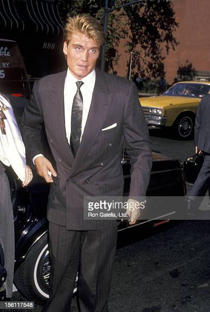 Actor Dolph Lundgren attends the Wedding of Ana Luisa Herrera and Felipe Paroud Carpena on October 13 1989 at St Vincent Ferrer Church in New York...
