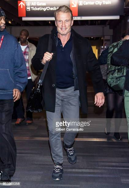 Actor Dolph Lundgren is seen arriving at Philadelphia International Airport on March 13 2018 in Philadelphia Pennsylvania