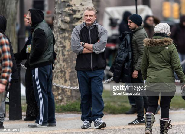 Actor Dolph Lundgren is seen on set filming 'Creed II' at the Rocky Statue and the 'Rocky Steps' at The Philadelphia Museum of Art on March 15 2018...
