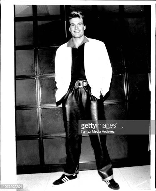 Actor Dolph Lundgren who is in Australian with Grace Jones Singer Pictured at the Hilton hotel before the Fenech Fight December 2 1985