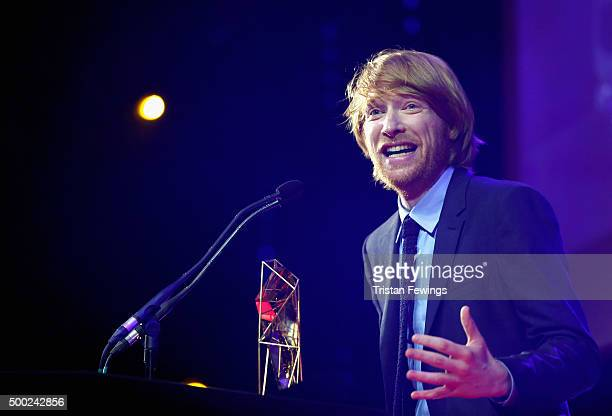 Actor Domhnall Gleeson accepts the award for Best Supporting Actor on behalf of his father Brendan Gleeson at The Moet British Independent Film...