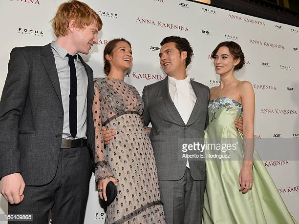 Actor Domhnall Gleeson actress Alicia Vikander director Joe Wright and actress Keira Knightley attend the premiere of Focus Features' Anna Karenina...
