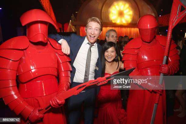 Actor Domhnall Gleeson and Kelly Marie Tran pose with the Praetorian Guard at the world premiere of Lucasfilm's Star Wars The Last Jedi at The Shrine...
