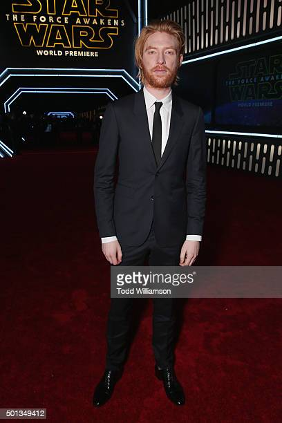 "Actor Domhnall Gleeson attends Premiere of Walt Disney Pictures and Lucasfilm's ""Star Wars: The Force Awakens"" on December 14, 2015 in Hollywood,..."