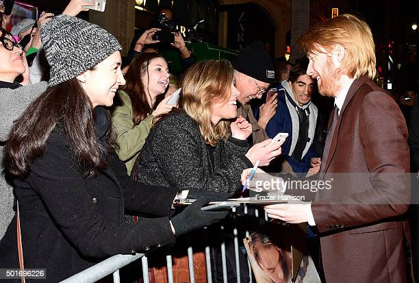 Actor Domhnall Gleeson with fans during the premiere of 20th Century Fox and Regency Enterprises' The Revenant at the TCL Chinese Theatre on December...