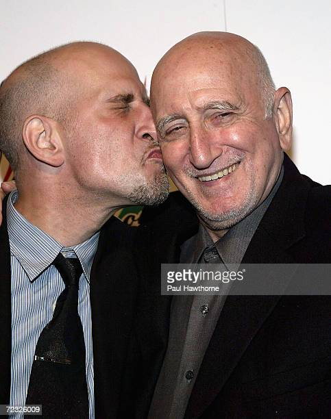 Actor Dominic Chianese arrives with his son Dominic Chianese Jr at the The Wiseguy Show dinner at Il Cortile in Manhattan's Little Italy on May 26...
