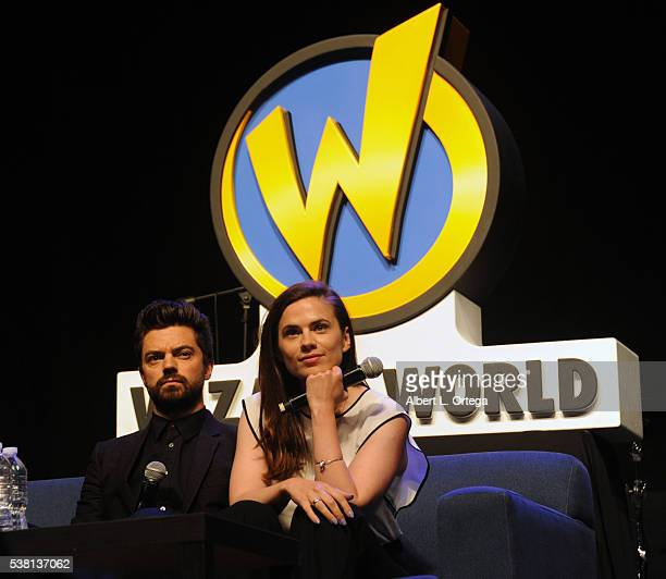 Actor Dominic Cooper and actress Hayley Atwell of 'Agent Carter' on day 3 of Wizard World Comic Con Philadelphia 2016 held at Pennsylvania Convention...