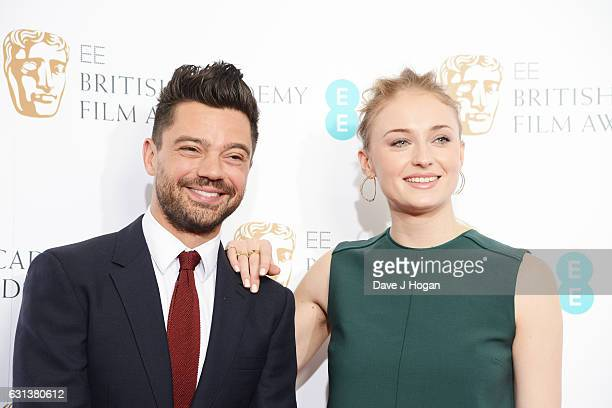 Actor Dominic Cooper and Actress Sophie Turner attend the EE BAFTA nominations announcement at Princess Anne Theatre on January 10 2017 in London...