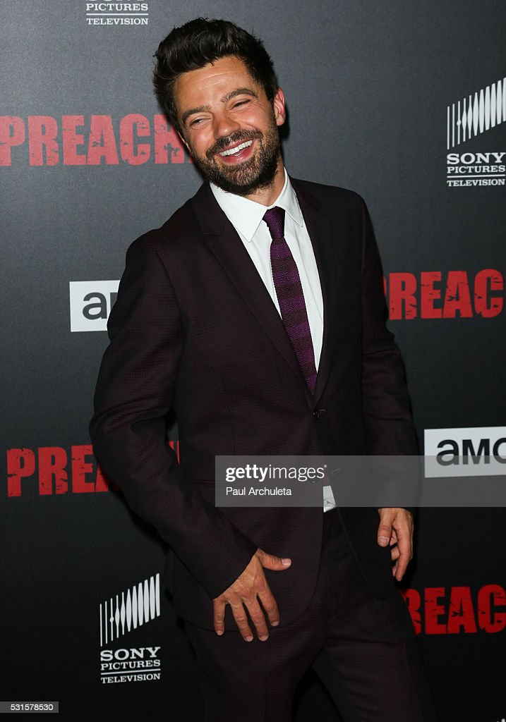 Actor Dominic Cooper attends the premiere of AMC's 'Preacher' at Regal LA Live Stadium 14 on May 14, 2016 in Los Angeles, California.