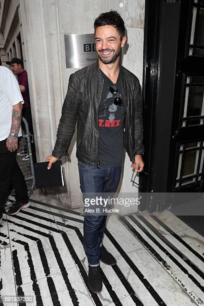 Actor Dominic Cooper seen arriving at the BBC Radio 2 Studios on August 19 2016 in London England