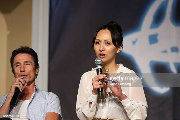 Actor Dominic Keating and actress Linda Park speak during the Star Trek Enterprise panel at the 14th annual official Star Trek convention at the Rio...