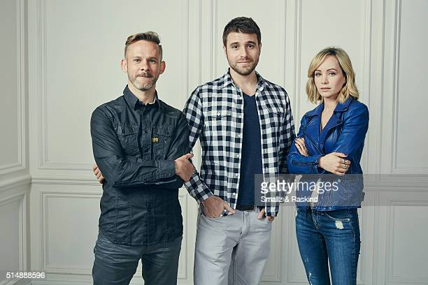Actor Dominic Monaghan director Carles Torrens and actress Ksenia Solo of 'PET' pose in the Getty Images SXSW Portrait Studio powered by Samsung on...