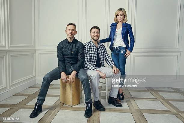 Actor Dominic Monaghan director Carles Torrens and actress Ksenia Solo pose in the Getty Images SXSW Portrait Studio powered by Samsung on March 11...