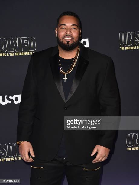 Actor Dominic Santana attends the premiere of USA Network's 'Unsolved The Murders of Tupac and The Notorious BIG at Avalon on February 22 2018 in...