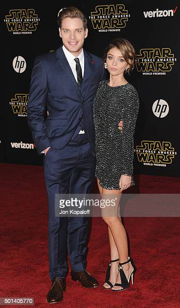 Actor Dominic Sherwood and actress Sarah Hyland arrive at the Los Angeles Premiere 'Star Wars The Force Awakens' on December 14 2015 in Hollywood...