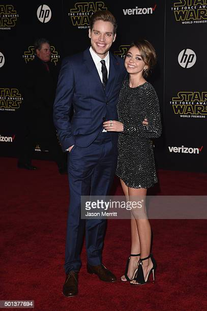 Actor Dominic Sherwood and actress Sarah Hyland attend Premiere of Walt Disney Pictures and Lucasfilm's Star Wars The Force Awakens on December 14...