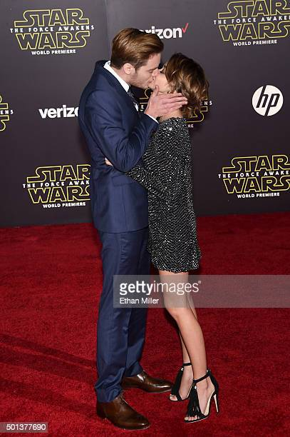 Actor Dominic Sherwood and actress Sarah Hyland attend the premiere of Walt Disney Pictures and Lucasfilm's Star Wars The Force Awakens at the Dolby...