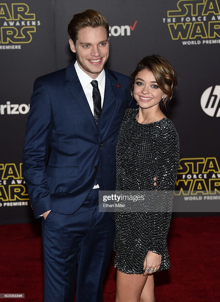 Actor Dominic Sherwood (L) and actress Sarah Hyland attend the premiere of Walt Disney Pictures and Lucasfilm's 'Star Wars: The Force Awakens' at the Dolby Theatre on December 14, 2015 in Hollywood, California.
